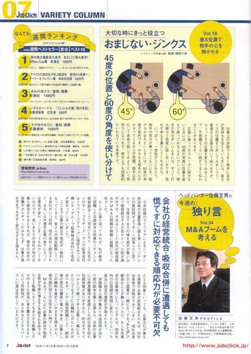 2005年11月 7日発刊号 Job Click/ジョブクリック (廣済堂) 掲載記事